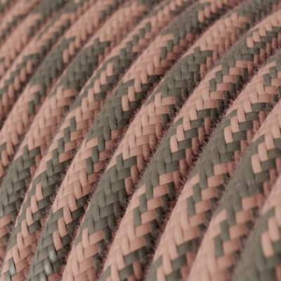 Textilkabel rund, antikrosa grau bifarbig Baumwolle, RP26