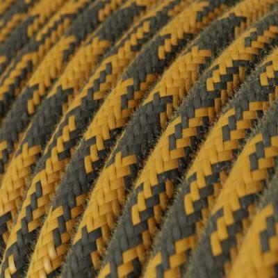 Textilkabel rund, honig anthrazit bifarbig Baumwolle, RP27