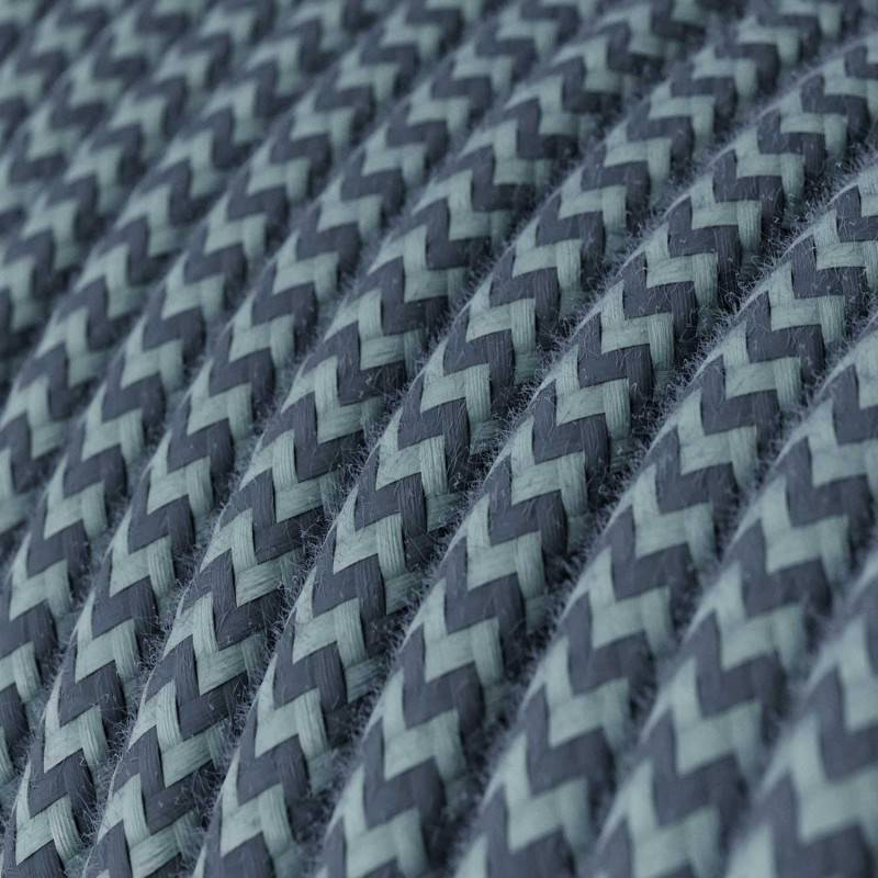 Textilkabel rund, Zick-Zack Muster, ocean steingrau Baumwolle, RZ25