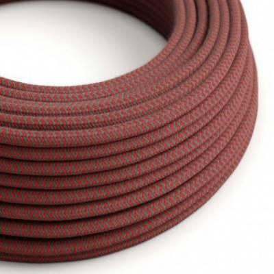 Textilkabel rund, Zick-Zack Muster, feuerrot grau Baumwolle, RZ28