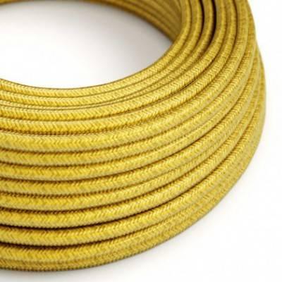 Textilkabel rund, Zitronengelb mit Seideneffekt, RM31