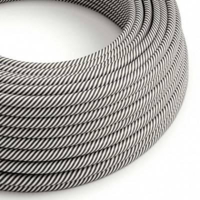 Rundes, Vertigo-Textilkabel mit HD Effekt in Weiß und Schiefer-Optik ERM37