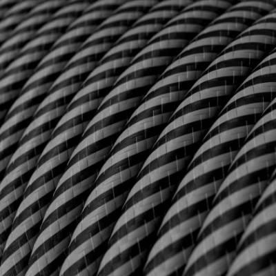 Rundes, Vertigo-Textilkabel mit HD Effekt graphitfarbene und schwarze, dünne Streifen ERM38