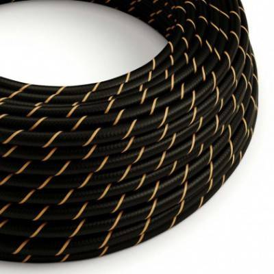 Rundes, Vertigo-Textilkabel mit HD Effekt in Schwarz mit Goldfaden ERM42