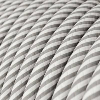 Rundes, Vertigo-Textilkabel mit HD Effekt in Weiß mit Aluminium-Optik ERM46