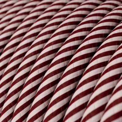 Rundes, Vertigo-Textilkabel mit HD Effekt in pinkem and kastaniefarbenem Stoff ERM47
