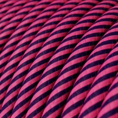 Rundes, Vertigo-Textilkabel mit HD Effekt in fuchsia- und dunkel-lilafarbenem Stoff ERM50