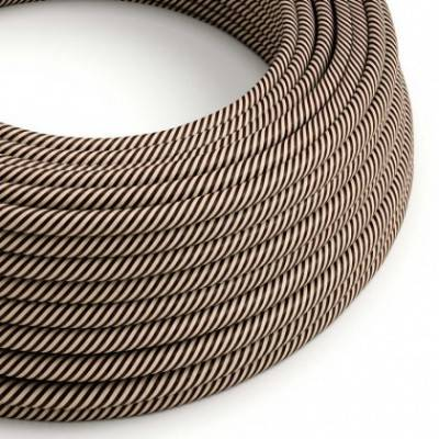 Rundes, Vertigo-Textilkabel mit HD Effekt in sandfarbenem und dunkelbraunem Stoff ERM51