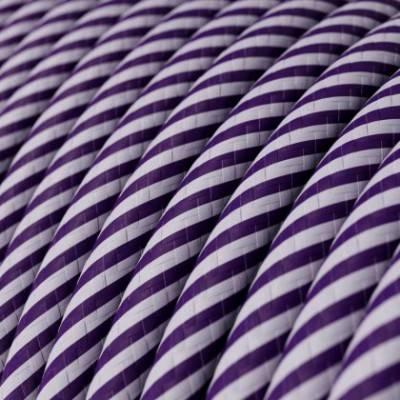 Rundes, Vertigo-Textilkabel mit HD Effekt in flieder- und dunkel-lilafarbenem Stoff ERM52