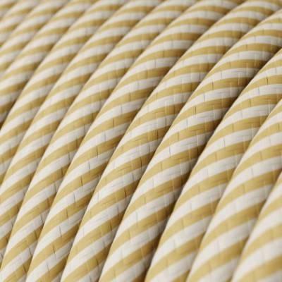 Rundes, Vertigo-Textilkabel mit HD Effekt in Creme mit dünnen Streifen in Nussbraun ERM53