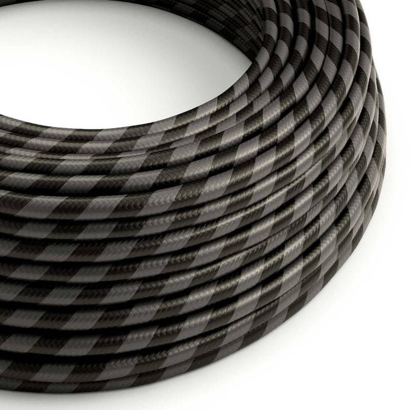 Rundes, Vertigo-Textilkabel mit HD Effekt mit breiten Streifen in Graphit und Schwarz ERM54