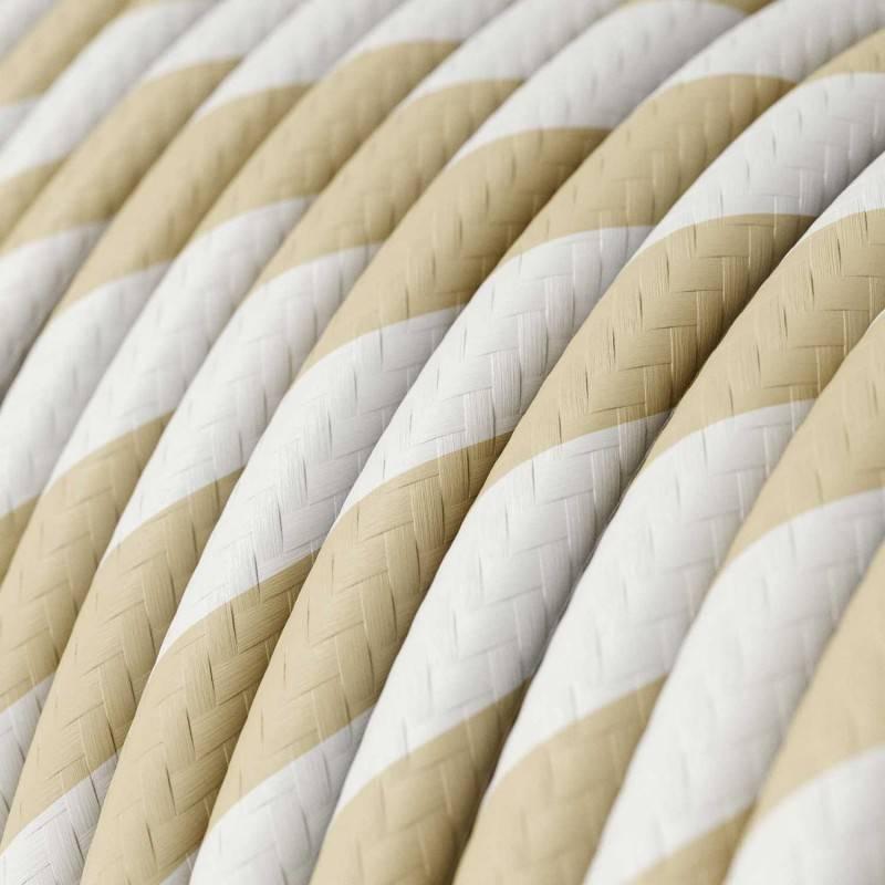 Rundes, Vertigo-Textilkabel mit HD Effekt breit getreift Creme & Nussbraun ERM56