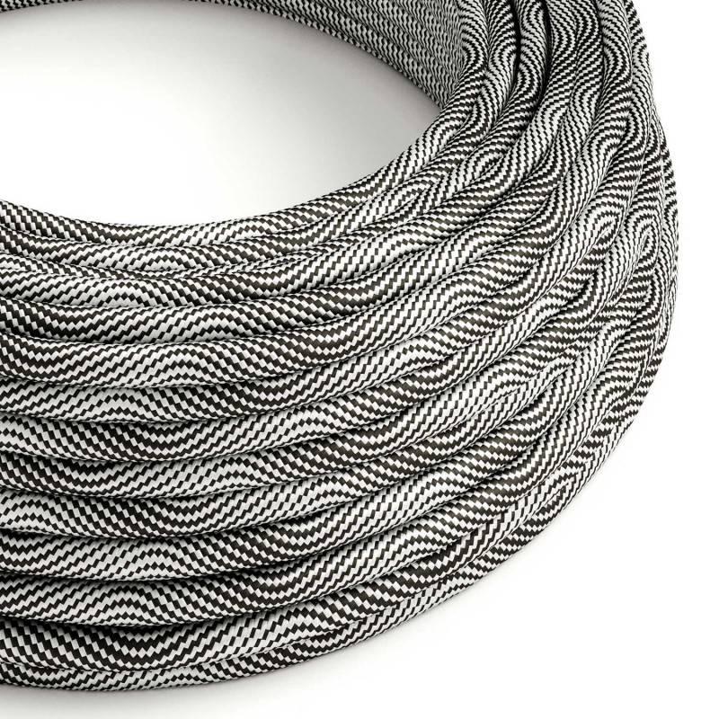 Rundes, Vertigo-Textilkabel mit HD Effekt in Schwarz-Silber-Optik ERM64