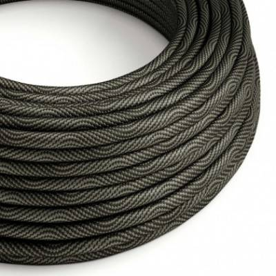 Rundes, Vertigo-Textilkabel mit HD Effekt in Schwarz-Grau-Optik ERM67