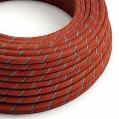 Rundes, Vertigo-Textilkabel in Ziegelrot-Hellblau aus Baumwolle ERC36
