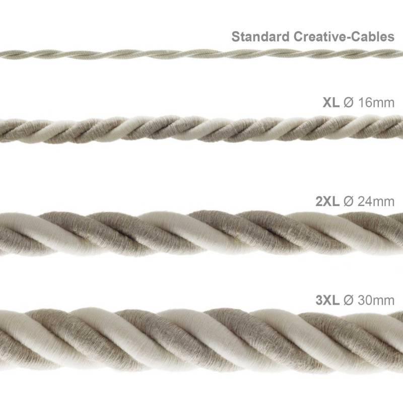 Elektrisches Tauseil XL 3x0,75 aus natürlichen Leinen und grober Baumwolle. Durchmesser 16 mm