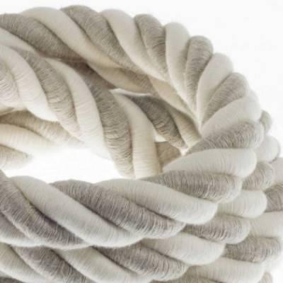 Elektrisches Tauseil 3XL 3x0,75 aus natürlichen Leinen und grober Baumwolle. Durchmesser 30 mm