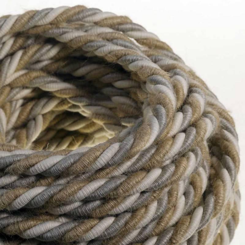 Elektrisches Tauseil XL 3x0,75 aus Jute, Baumwolle und natürliche Leinen Country. Durchmesser 16 mm