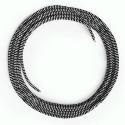 LAN-Kabel - Ethernet Cat 5e ohne RJ45-Anschlüsse - RZ04 Seideneffekt Zick-Zack Weiß Schwarz