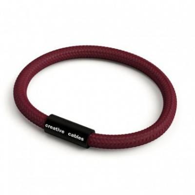 Armband mit mattschwarzem Magnetverschluss und Textilkabel RM19