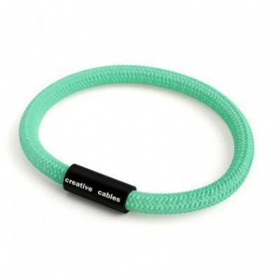 Armband mit mattschwarzem Magnetverschluss und Textilkabel RH69