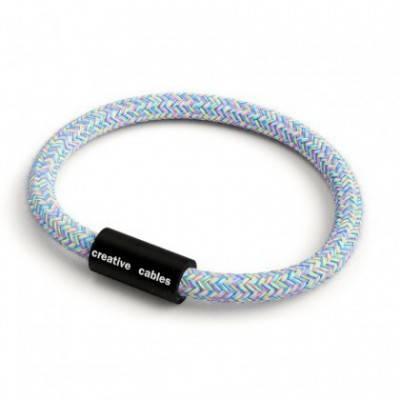 Armband mit mattschwarzem Magnetverschluss und Textilkabel RX09