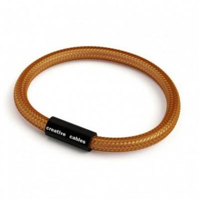 Armband mit mattschwarzem Magnetverschluss und Textilkabel RM22