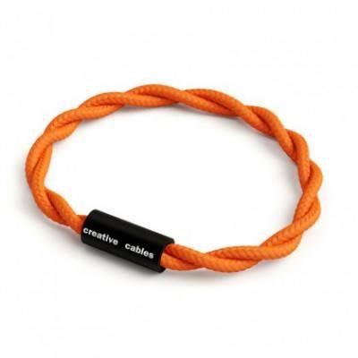 Armband mit mattschwarzem Magnetverschluss und Textilkabel TM15