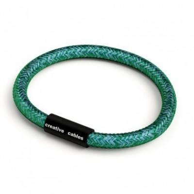 Armband mit mattschwarzem Magnetverschluss und Textilkabel RM33