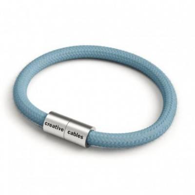 Armband mit mattsilbernem Magnetverschluss und Textilkabel RC53