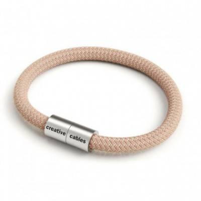 Armband mit mattsilbernem Magnetverschluss und Textilkabel RD71