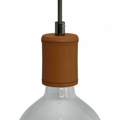 Lampenfassung aus Holz, mit Leder bezogen, E27, Set