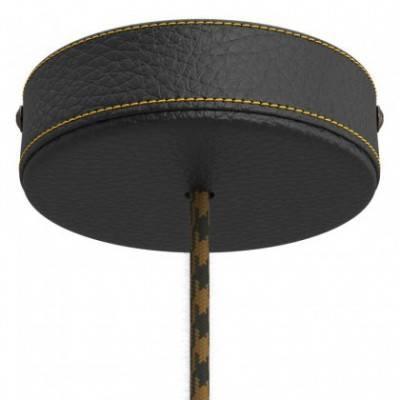 Lampenbaldachin-Kit aus Holz mit Leder bezogen