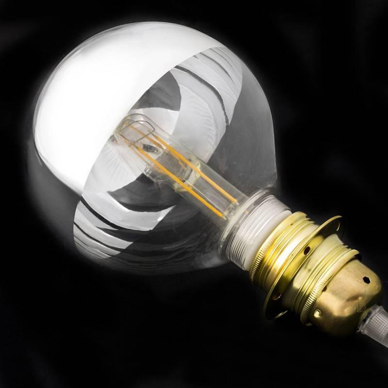 Modulare dekorative Glühbirne LED G125 aus Glas Halbkugel silber 4,5W E27 dimmbar 2700K