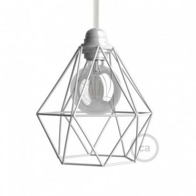 Diamantförmiger Lampenschirmkäfig aus Metall mit E27-Anschluss