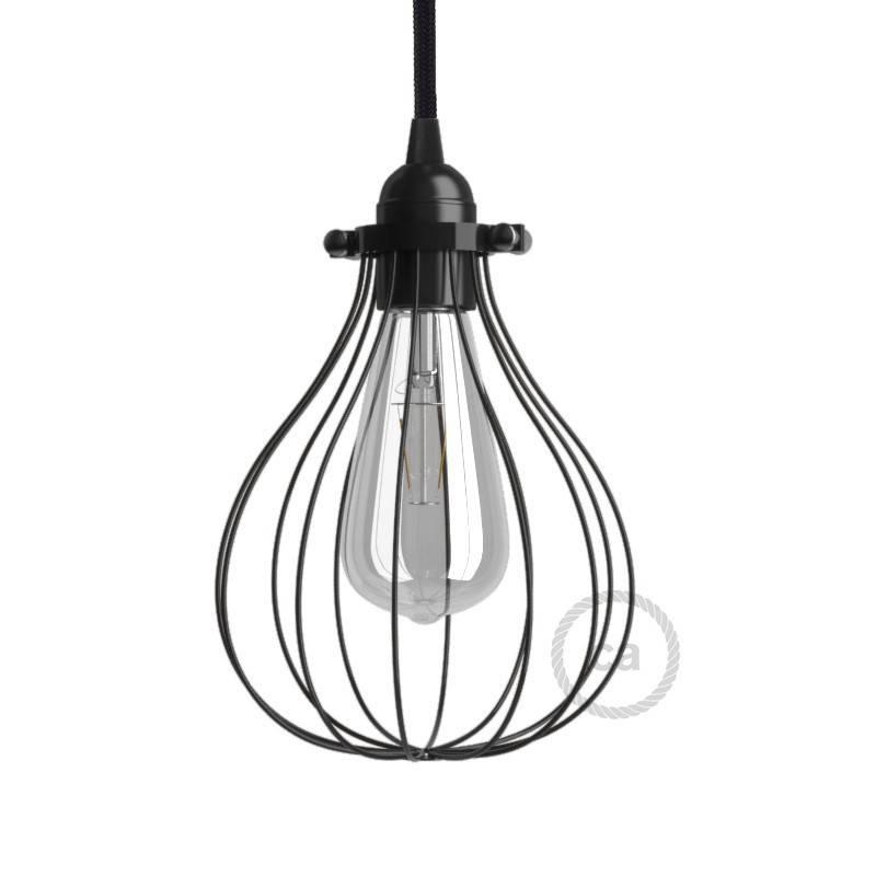 Tropfenförmiger Lampenschirmkäfig aus Metall mit verstellbarem Verschluss