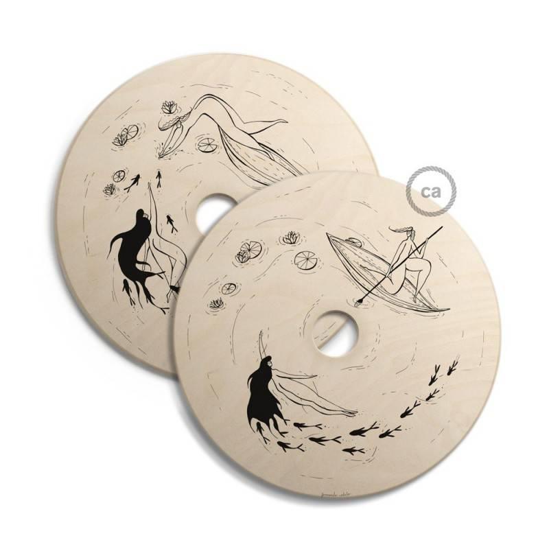 UFO, doppelseitig bedruckter Lampenschirm aus Holz mit Illustrationen von verschiedenen Künstlern - 33 cm Durchmesser