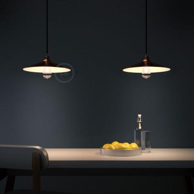 Pendelleuchte inklusive Textilkabel, Swing Lampenschirm und Metall-Zubehör - Made in Italy