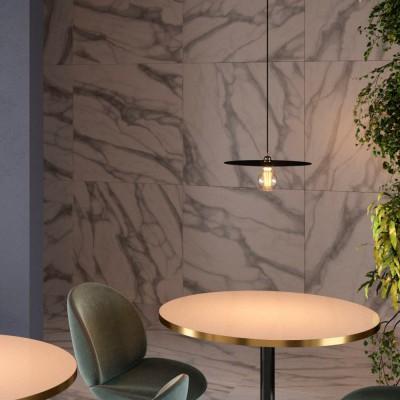 Pendelleuchte inklusive Textilkabel, Oversized Ellepi Lampenschirm und Metall-Zubehör - Made in Italy