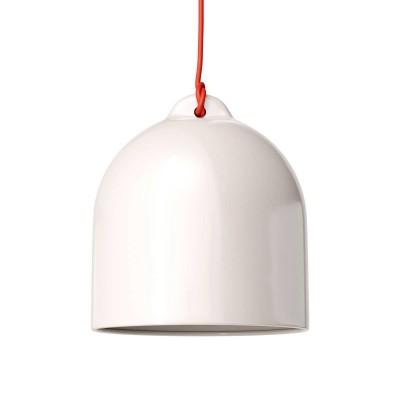 Pendelleuchte inklusive Textilkabel, glockenförmiger Lampenschirm M und Metall-Zubehör - Made in Italy
