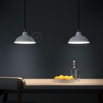 Pendelleuchte inklusive Textilkabel, Bistrot Lampenschirm und Metall-Zubehör - Made in Italy