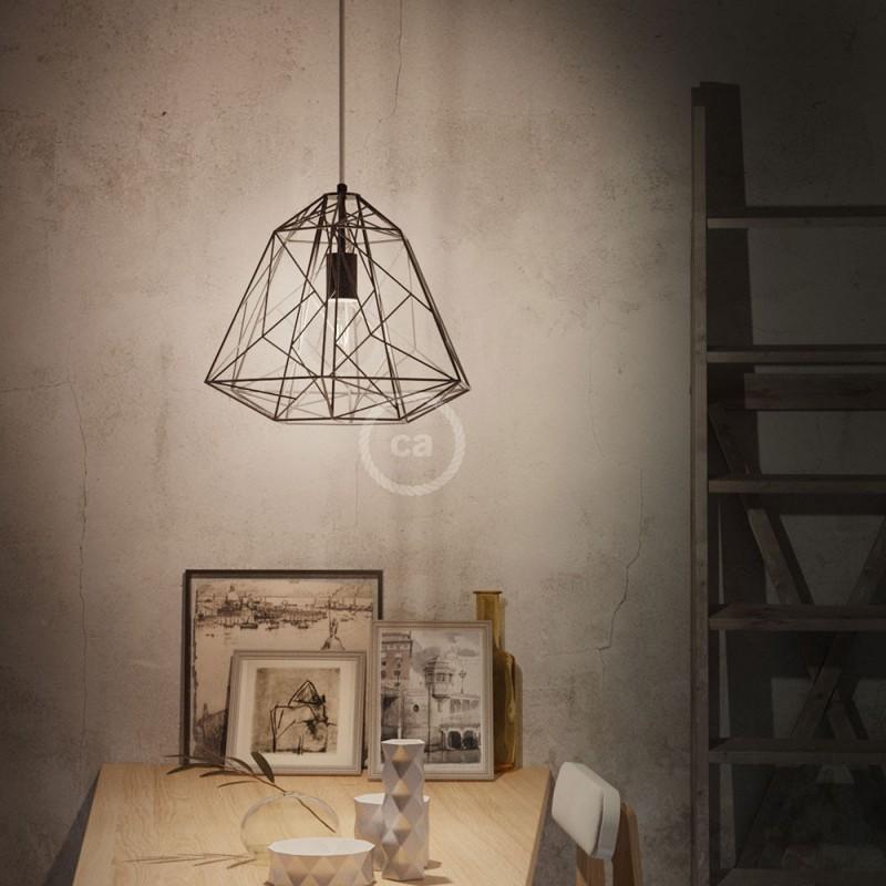 Pendelleuchte inklusive Textilkabel, Apollo Lampenschirm und Metall-Zubehör - Made in Italy
