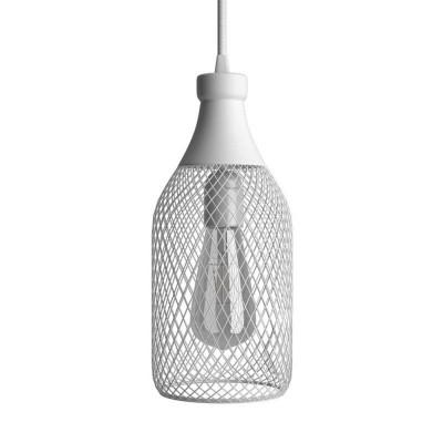 Pendelleuchte inklusive Textilkabel, flaschenförmiger Lampenschirm Jéroboam und Metall-Zubehör - Made in Italy