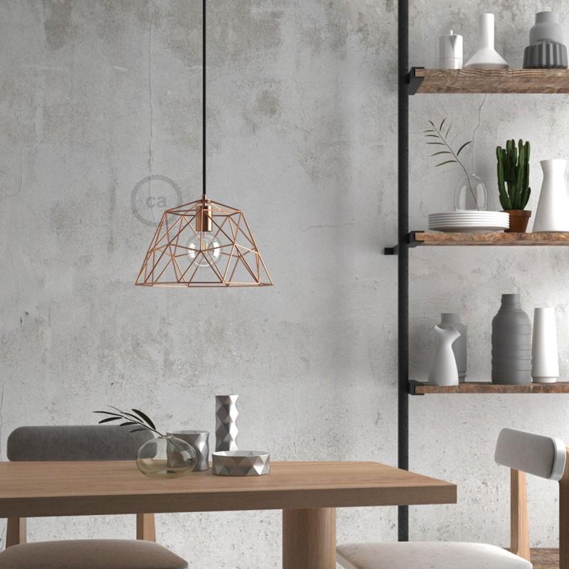 Pendelleuchte inklusive Textilkabel, Dome Lampenschirm und Metall-Zubehör - Made in Italy