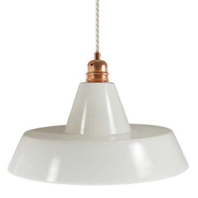 Pendelleuchte inklusive Textilkabel, Industie-Lampenschirm aus Keramik und Metall-Zubehör - Made in Italy
