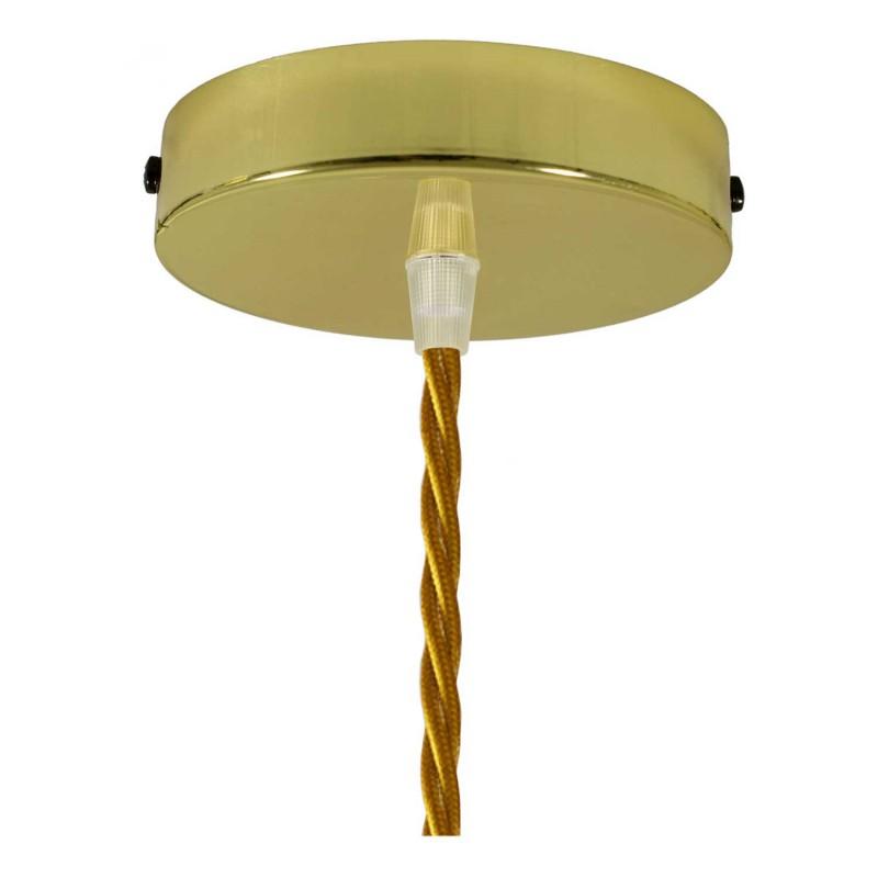Pendelleuchte inklusive Textilkabel, tropfenförmiger Lampenschirmkäfig und Metall-Zubehör - Made in Italy