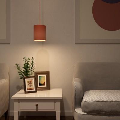 Pendelleuchte inklusive Textilkabel, zylinderförmigem Lampenschirm aus Stoff und Metall-Zubehör - Made in Italy