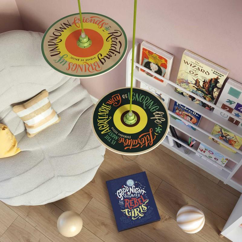 Pendelleuchte inklusive Textilkabel, Pemberly Pond UFO-Lampenschirm aus Holz und Metall-Zubehör - Made in Italy