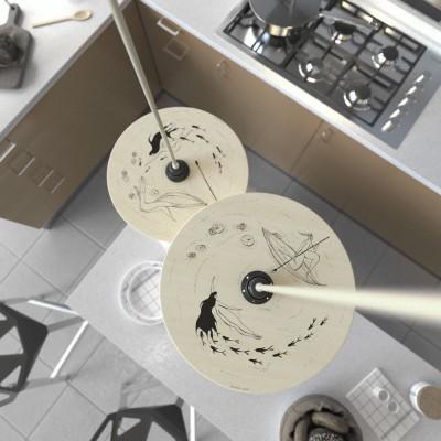 Pendelleuchte inklusive Textilkabel, doppelseitigem UFO-Lampenschirm aus Holz und Metall-Zubehör - Made in Italy