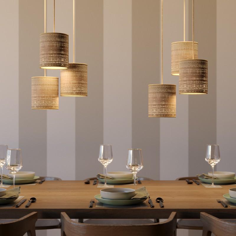 Pendelleuchte inklusive Textilkabel, zylinderförmiger Lampenschirm aus Bast und Metall-Zubehör - Made in Italy